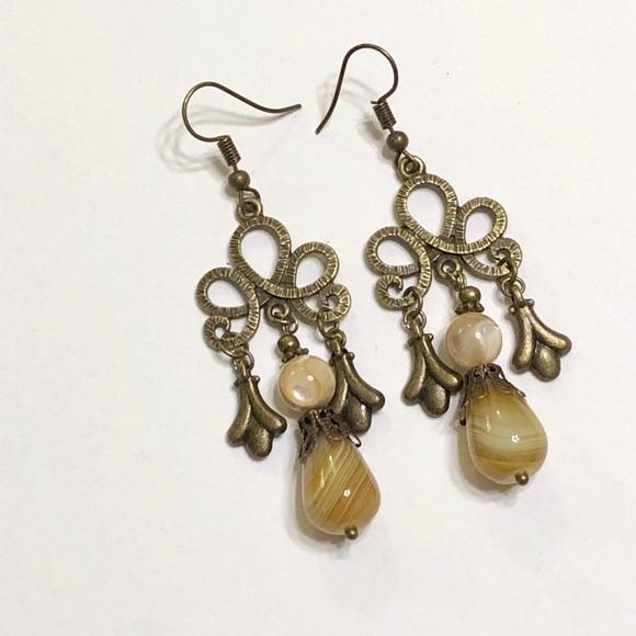 Ornate Onyx MOP Calla Lily Chandelier Earrings